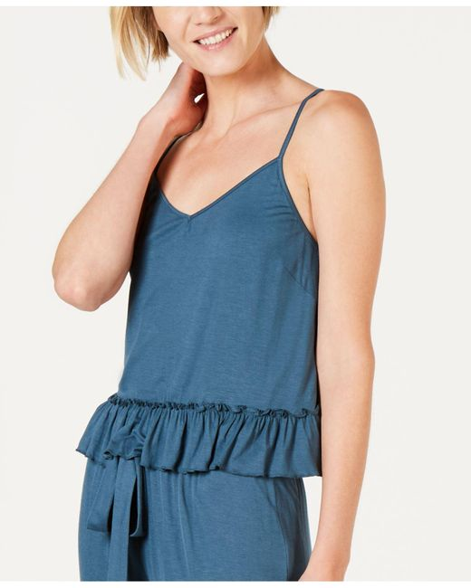 INC International Concepts Blue Inc Ultra Soft Knit Ruffle Flounce Pajama Top, Created For Macy's