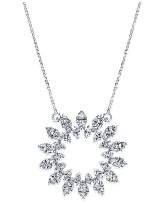 Macy's - Metallic Diamond Sun Pendant Necklace (1-1/2 Ct. T.w.) In 14k White Gold - Lyst