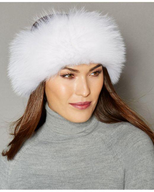 7c8f7835004 Lyst - The Fur Vault Fox Fur Knitted Headband in White