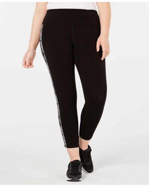 Women's Black Performance Plus Size Logo-stripe Leggings