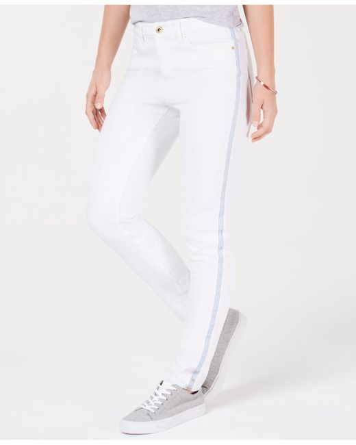 15f56dbc Tommy Hilfiger - White Side-stripe Skinny Jeans - Lyst ...