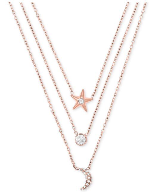 Michael Kors | Metallic Rose Gold-tone Stainless Steel Pavé Triple-row Celestial Pendant Necklace | Lyst