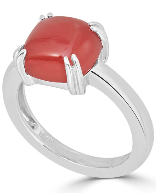 Macy's - Metallic Red Agate Curved Claw Ring In Sterling Silver - Lyst
