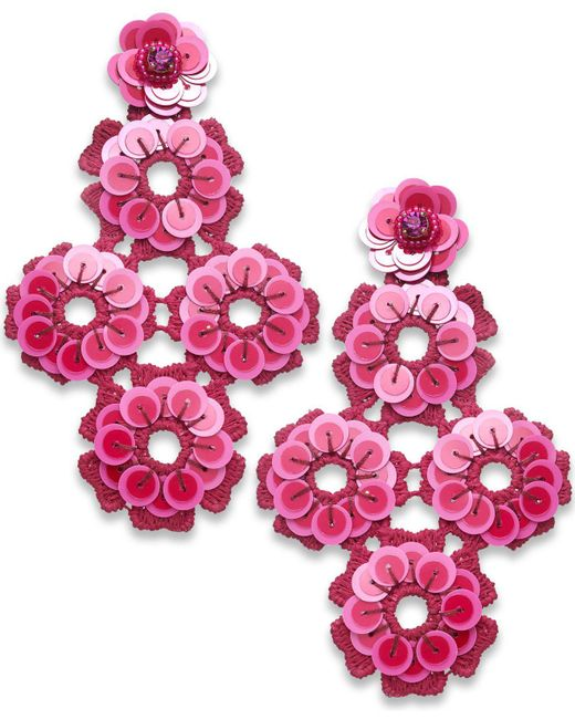 Kate Spade | Pink Colored Stone, Sequin, Bead & Fabric Flower Drop Earrings | Lyst