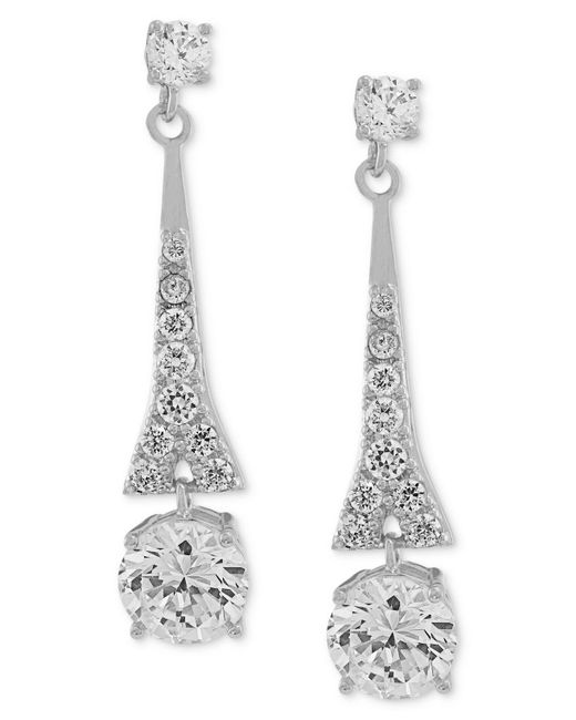 Carolee - Metallic Earrings, Silver-tone Cubic Zirconia Linear Drop Earrings (9-3/4 Ct. T.w.) - Lyst