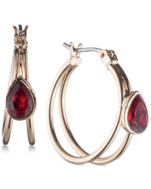 Nine West | Red Gold-tone Stone Double Hoop Earrings | Lyst