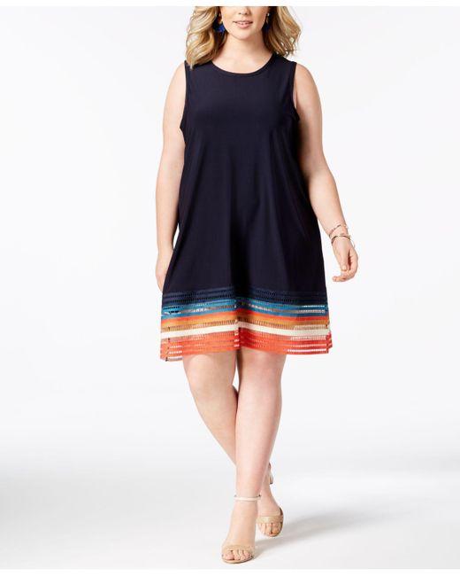 Love Scarlett - Blue Plus Size Cutout-hem A-line Dress - Lyst