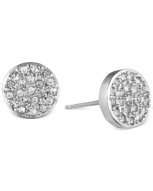 Anne Klein | Metallic Crystal Pavé Button Stud Earrings | Lyst