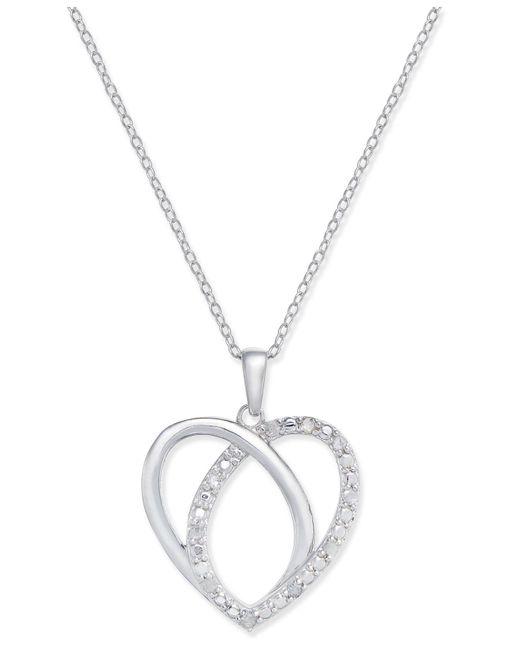 Macy's | Metallic Diamond Heart Pendant Necklace (1/10 Ct. T.w.) In Sterling Silver | Lyst
