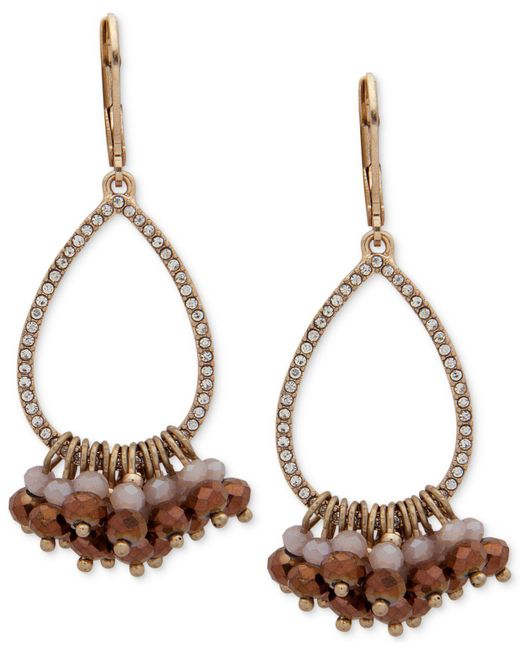 Lonna & Lilly - Natural Gold-tone Crystal Pavé Shaky Bead Drop Earrings - Lyst