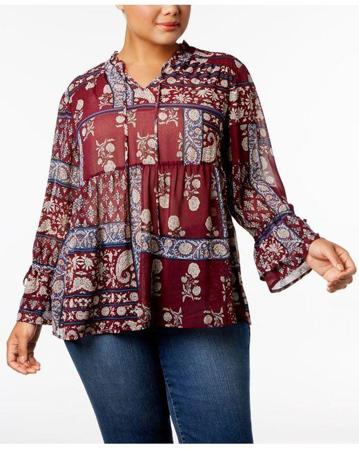 Style & Co.   Red Plus Size Floral-print Split-neckline Blouse   Lyst