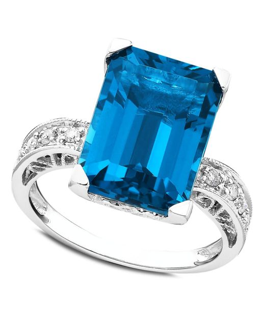 Macy's | 14k White Gold Ring, Blue Topaz (8-9/10 Ct. T.w.) And Diamond (1/8 Ct. T.w.) | Lyst