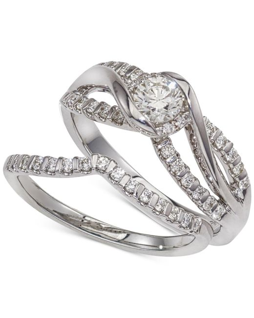 Macy's | Metallic Diamond Twist Interlocking Bridal Set (1/2 Ct. T.w.) In 14k White Gold | Lyst