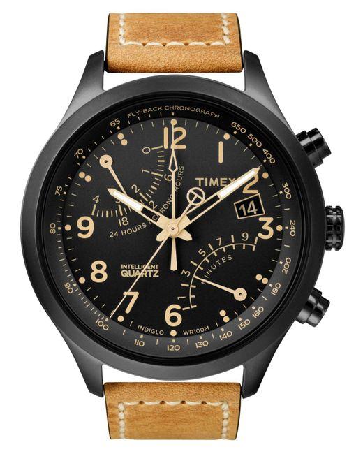 Timex   Brown Watch, Men's Intelligent Quartz Fly-back Chrono Tan Leather Strap 43mm T2n700za for Men   Lyst