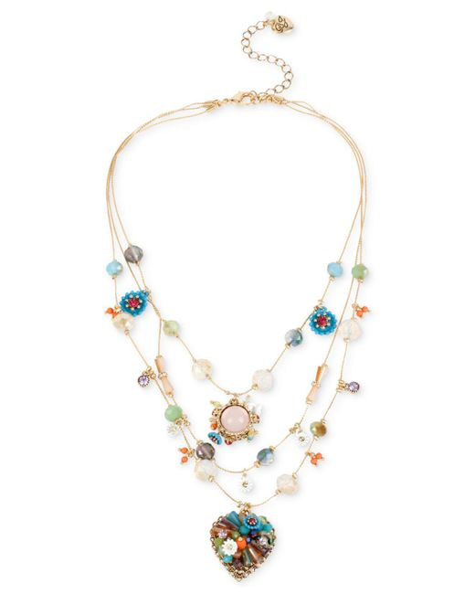 Betsey Johnson Metallic Gold-tone Multicolor Beaded Illusion Necklace