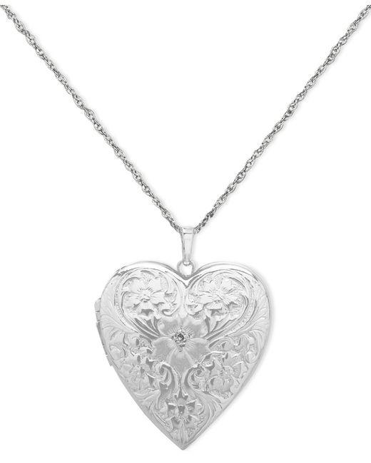 Macy's Metallic 4-photo Engraved Heart Locket In Sterling Silver