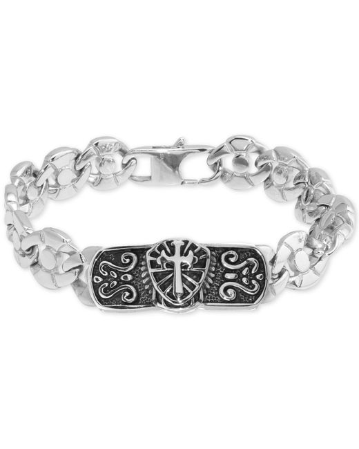Macy's - Metallic Cross Plate Circle Link Bracelet In Stainless Steel & Black Ion-plate - Lyst