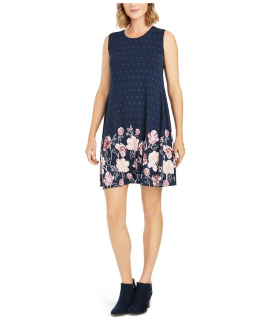 Style & Co. Blue Mixed-print Sleeveless Swing Dress, Created For Macy's