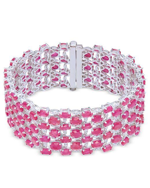 Macy's - Red Certified Ruby (52-1/3 Ct. T.w.) & Diamond (1/3 Ct. T.w.) Tennis Bracelet In 14k White Gold - Lyst