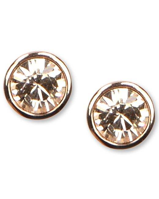 Givenchy   Metallic Earrings, Rose Gold-tone Swarovski Element Stud Earrings   Lyst