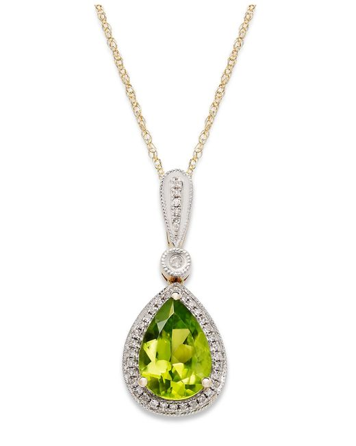 Macy's | Metallic 14k Gold Necklace, Peridot (1-3/4 Ct. T.w.) And Diamond Accent Pear-cut Pendant | Lyst