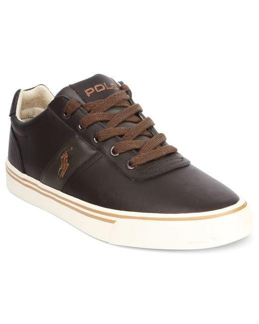 polo ralph hanford leather sneakers in brown for