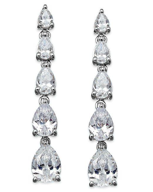 Arabella - Metallic Swarovski Zirconia Graduated Linear Earrings In Sterling Silver (8 Ct. T.w.) - Lyst