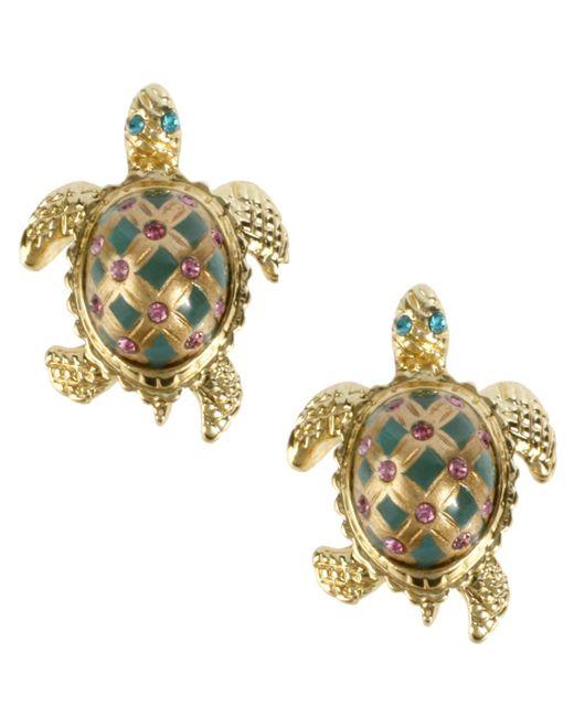 Betsey Johnson | Green Turtle Stud Earrings | Lyst