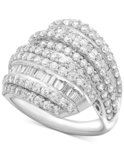 Wrapped in Love - Metallic Diamond Layered Cluster Ring (2 Ct. T.w.) In Sterling Silver - Lyst