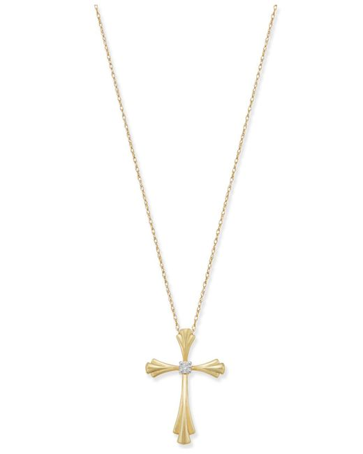 Macy's   Metallic Diamond Accent Cross Pendant Necklace In 10k Gold Or White Gold   Lyst