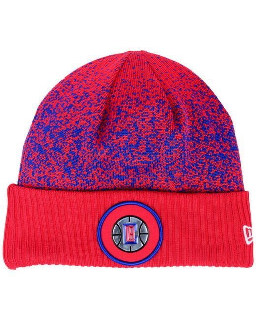 9bc70214ee6979 KTZ - Red On Court Collection Cuff Knit Hat for Men - Lyst ...