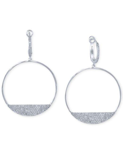 Effy Collection   Diamond Drop Hoop Earrings (3/4 Ct. T.w.) In 14k White Gold   Lyst