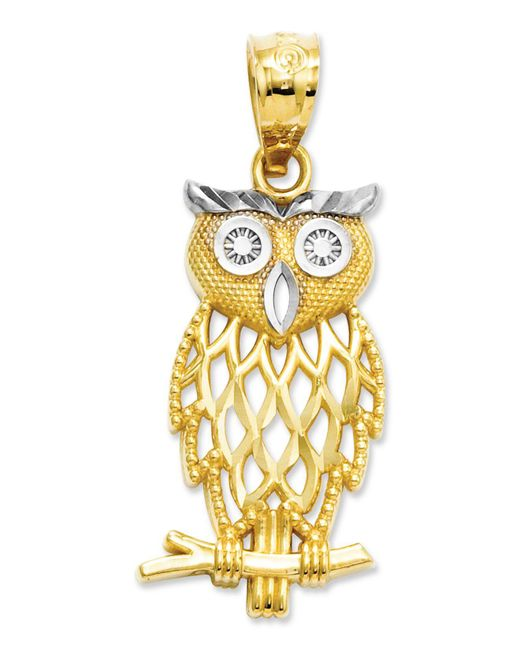 Macy's Metallic 14k Gold And Sterling Silver Charm, Owl Charm
