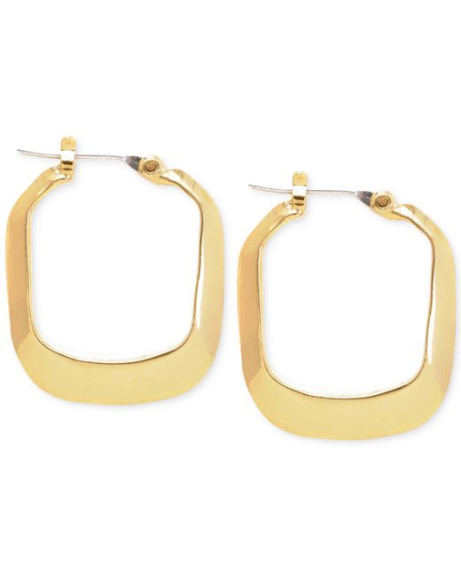 Kenneth Cole | Metallic Gold-tone Rectangle Hoop Earrings | Lyst