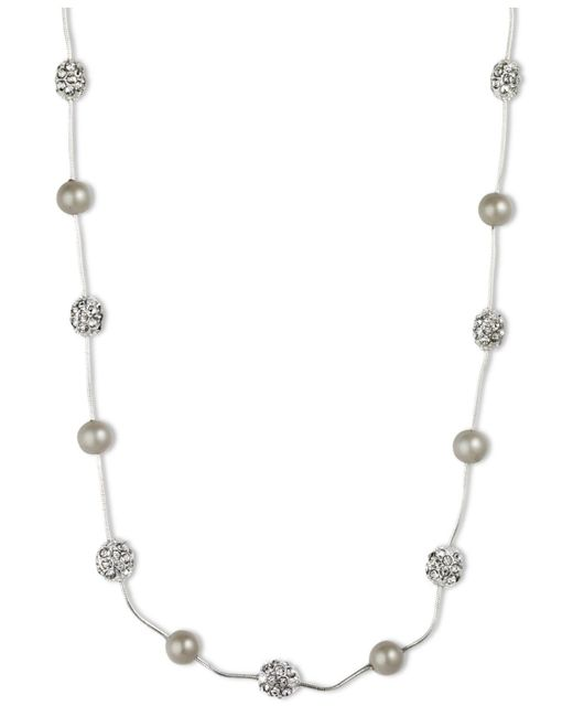 Anne Klein | Metallic Silver-tone Crystal Imitation Pearl Strand Necklace | Lyst