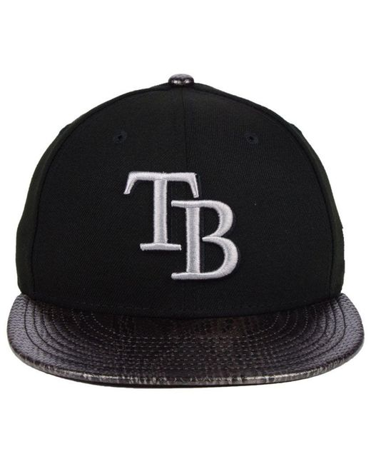 new arrival f886b b989a ... KTZ - Black Tampa Bay Rays Snakeskin Sleek 59fifty Fitted Cap for Men -  Lyst ...