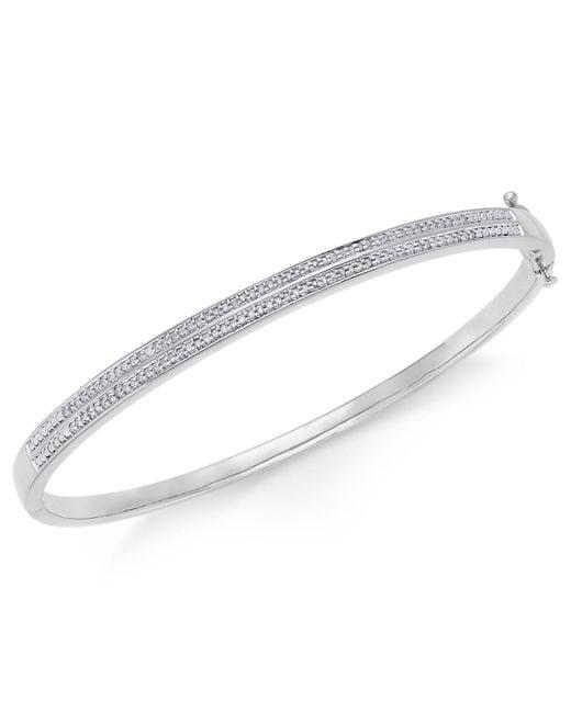 Macy's | Metallic Diamond Pavé Bangle Bracelet (1/4 Ct. Tw.) In 14k Gold Over Sterling Silver | Lyst