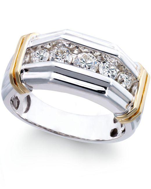 Macy'S Men's Diamond (1 Ct. T.w.) Ring In 10k White