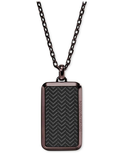 Emporio Armani | Brown Men's Two-tone Textured Dog Tag Pendant Necklace Egs2251 for Men | Lyst