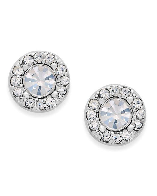 Charter Club | Metallic Silver-tone Clear Circle Stud Earrings | Lyst