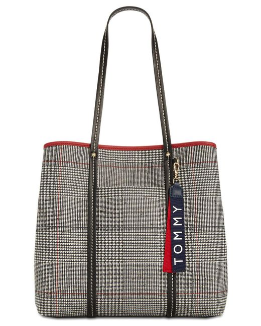 Tommy Hilfiger - Gray Roma Plaid North South Tote - Lyst