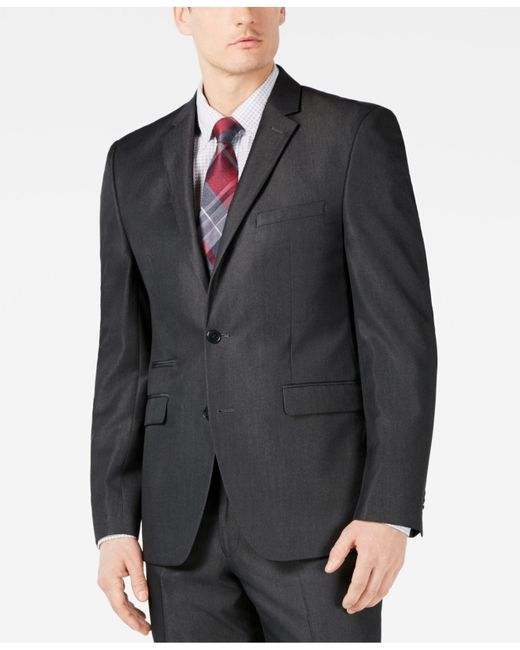 Vince Camuto Gray Slim-fit Stretch Charcoal Solid Twill Suit Jacket for men
