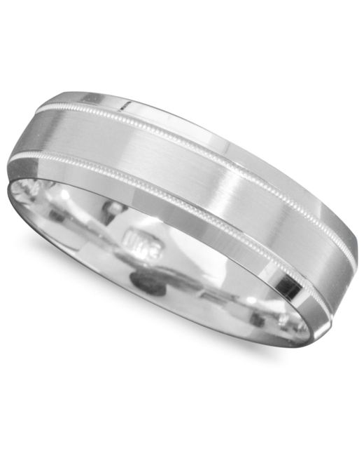Macy's - Men's 14k White Gold Ring, Engraved 6mm Band (size 6-13) for Men - Lyst