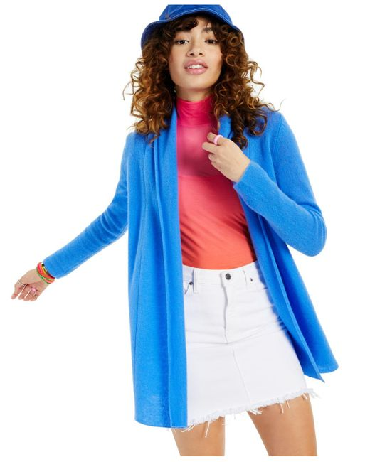 Charter Club Blue Rolled-edge Pure Cashmere Cardigan, Created For Macy's