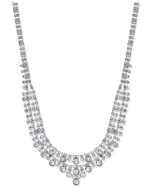 Charter Club | Metallic Silver-tone Two-row Crystal Collar Necklace | Lyst