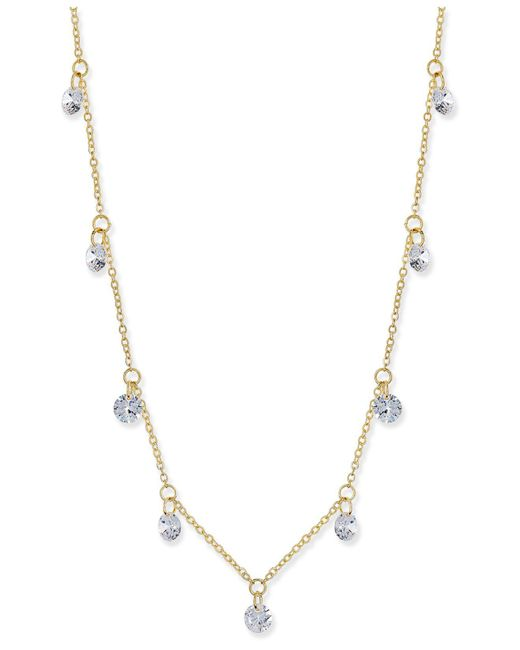 INC International Concepts - Metallic Silver-tone Crystal Drop Necklace - Lyst