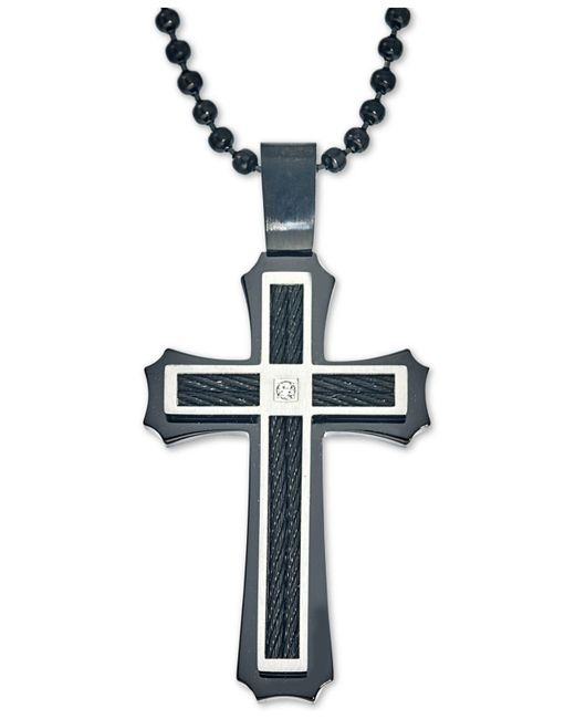 Macy's - Black Men's Diamond Accent Cross Pendant Necklace In Stainless Steel And Ion-plating - Lyst