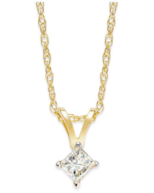 Macy's - Yellow Princess-cut Diamond Pendant Necklace In 10k Gold (1/6 Ct. T.w.) - Lyst