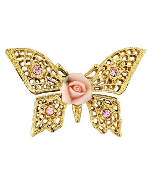 2028 Metallic Gold-tone Pink Crystal And Porcelain Rose Butterfly Brooch