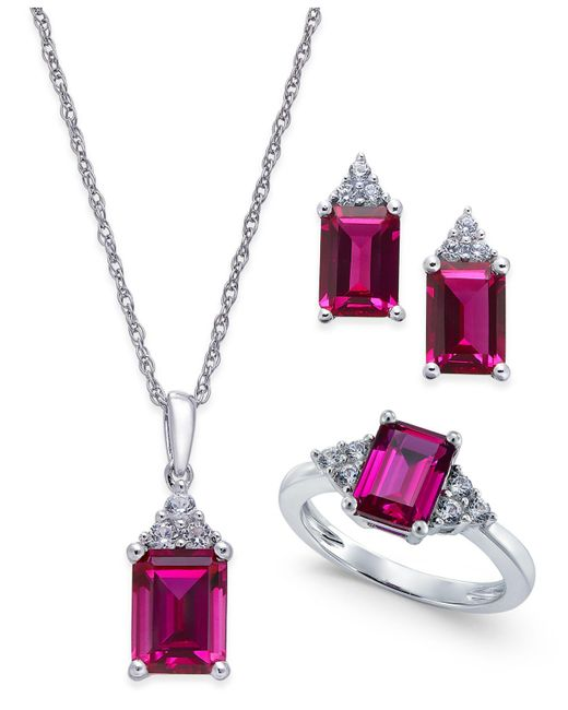 Macy's - Metallic Lab-created Ruby (5 Ct. T.w.) And White Sapphire (3/8 Ct. T.w.) Jewelry Set In Sterling Silver - Lyst